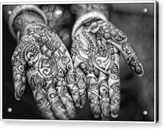 Henna Hands Black And White Acrylic Print
