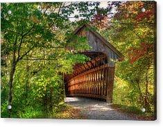 Henniker Covered Bridge - Autumn In New Hampshire Acrylic Print
