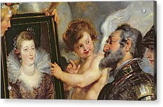 Henri Iv Receiving The Portrait Of Marie De Medici Acrylic Print by Rubens