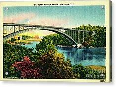 Henry Hudson Bridge Postcard Acrylic Print