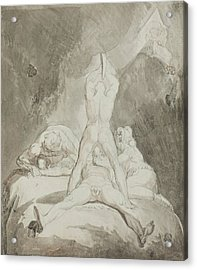 Hephaestus Bia And Crato Securing Prometheus On Mount Caucasus Acrylic Print by Henry Fuseli