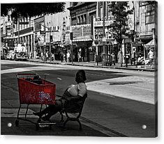 Acrylic Print featuring the photograph Her Red Cart by Lorraine Devon Wilke