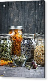 Acrylic Print featuring the photograph Herbs In Jars by Elena Elisseeva