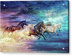 Herd Of Horses In Pastel Acrylic Print
