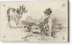 Herdersjongen In Het Gras Gezeten Acrylic Print by Johan Danial