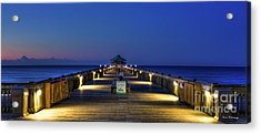 Acrylic Print featuring the photograph Here It Comes Now Folly Beach Pier Sunrise Art by Reid Callaway