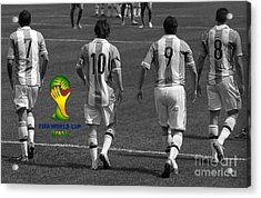 Here We Come Lionel Messi Fifa 2014 Black And White Acrylic Print by Lee Dos Santos
