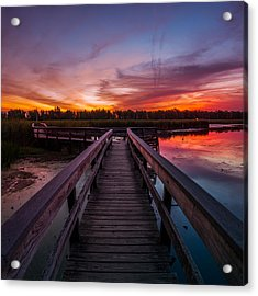 Heritage Boardwalk Twilight - Square Acrylic Print by Chris Bordeleau