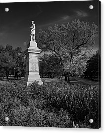 Hermann Park Confederate Monument Black And White Acrylic Print by Joshua House