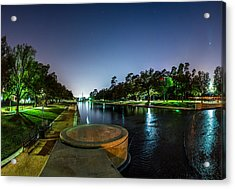 Hermann Park Reflecting Pool In Houston Texas Acrylic Print by Micah Goff