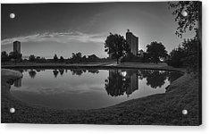 Hermann Park Sunrise Black And White Acrylic Print by Joshua House