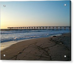 Hermosa Beach Pier At Sunset Acrylic Print by Mark Barclay
