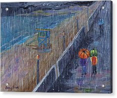 Acrylic Print featuring the painting Hermosa Beach Rain by Jamie Frier