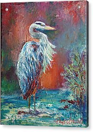 Heron In Color Acrylic Print