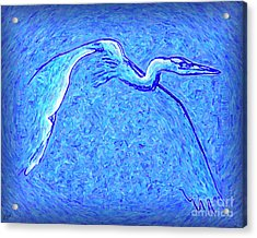 Acrylic Print featuring the photograph Heron In Flight by Walt Foegelle