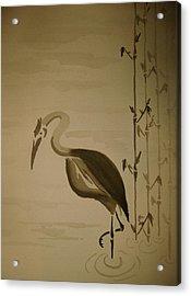 Heron In Sumi-e Acrylic Print by Jeff DOttavio