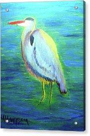 Heron Acrylic Print by Lauren Mooney Bear