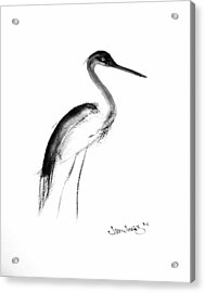 Acrylic Print featuring the painting Heron by Sibby S