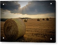 Acrylic Print featuring the photograph Hey Bales And Sun Rays by David Dehner