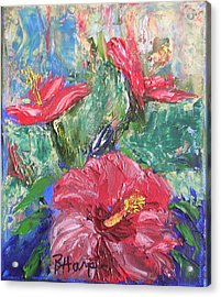 Hibiscus Abstract Acrylic Print by Barbara Harper