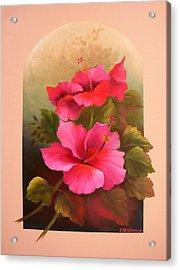 Hibiscus Garden Acrylic Print by Francine Henderson