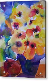 Hibiscus In Yellow Acrylic Print by Therese Fowler-Bailey