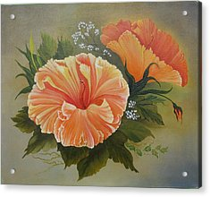 Hibiscus  Acrylic Print by Joan Taylor-Sullivant