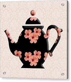Hibiscus Pattern Teapot Acrylic Print