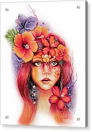 Acrylic Print featuring the drawing Hibiscus by Sheena Pike