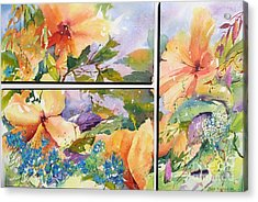 Hibiscus Triptych Acrylic Print