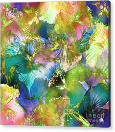 Acrylic Print featuring the digital art Hibiscus Trumpets by Klara Acel