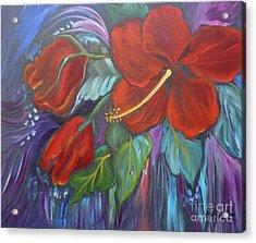 Hibiscus Whimsy Acrylic Print