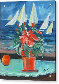 Hibiscus With An Orange And Sails For Breakfast Acrylic Print by Betty Pieper