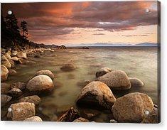 Hidden Beach At Sunset Acrylic Print by Eric Foltz