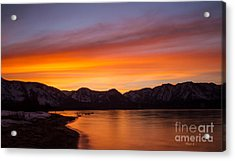 Hidden Beach Sunset Acrylic Print by Mitch Shindelbower