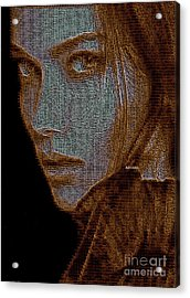Acrylic Print featuring the digital art Hidden Face In Sepia by Rafael Salazar