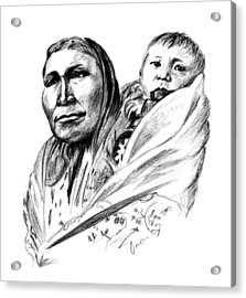 Hiditcha Woman With Child Acrylic Print