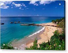 High Angle View Of A Pier On Crashboat Beach Puerto Rico. Acrylic Print by George Oze