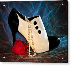 Acrylic Print featuring the photograph High Heel Spat Bootie Shoe by Patti Deters