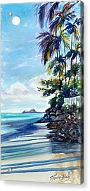High Moon At Lanikai End Acrylic Print by Therese Fowler-Bailey