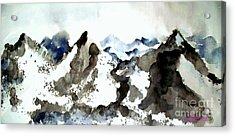 Acrylic Print featuring the painting High Mountain Peaks by Carol Grimes