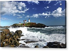 High Surf At Nubble Light Acrylic Print