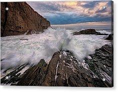 High Tide At Bald Head Cliff Acrylic Print by Rick Berk