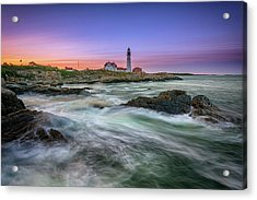Acrylic Print featuring the photograph High Tide At Portland Head Lighthouse by Rick Berk