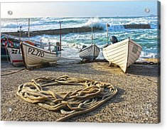 High Tide In Sennen Cove Cornwall Acrylic Print by Terri Waters