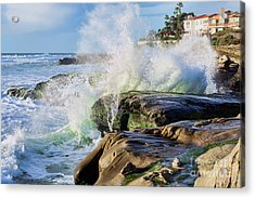 Acrylic Print featuring the photograph High Tide On The Rocks by Eddie Yerkish