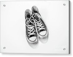 Acrylic Print featuring the digital art High Tops In Snow Black And White by Randy Steele