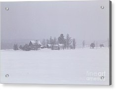 Highland Road Barn In The Snow Acrylic Print by Benjamin Williamson