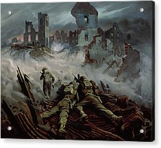 Highlanders Advancing To Caen Acrylic Print by Orville Norman Fisher