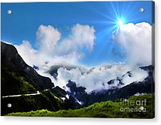 Highway Through The Andes - Painting Acrylic Print by Al Bourassa